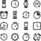 Clock, time, chronometer vector pictograms. Hourglass and black silhouette clock illustration