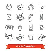 Clocks and Watches. Thin line art icons set. Various type of time measure devices, from hourglass to smartwatch. Linear style symbols isolated on white.