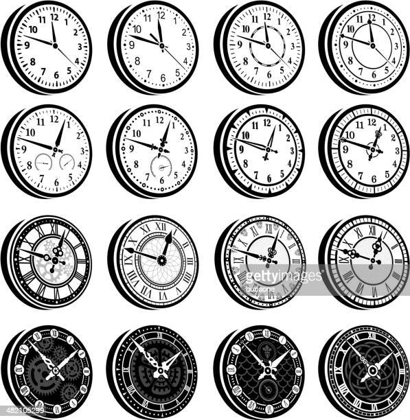Réveil & noir blanc Ensemble d'icônes vectorielles libres de droits