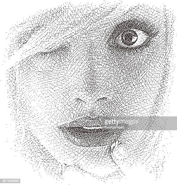 Close up of face with surprised expression