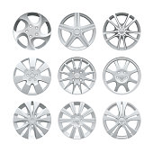 Close up of rims car alloy wheel. Aluminum wheel vector set. Figured alloy rim for car, tracks