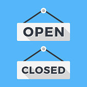 Closed and open signs. Long shadow flat design. Vector signs set isolated on blue background