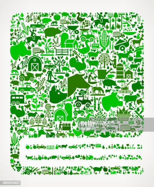 Closed Book Farming and Agriculture Green Icon Pattern