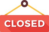 Closed door sign. We are closed sign. Vector icon