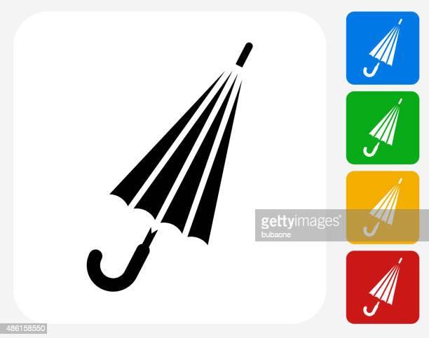 Cerrado sombrilla iconos planos de diseño gráfico