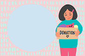 Clothes donation. Cute hand drawn girl holding donation box with place for your text. Children charity vector illustration.