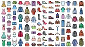 Men and women clothes vector icons set.