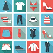 Clothes icons, flat design