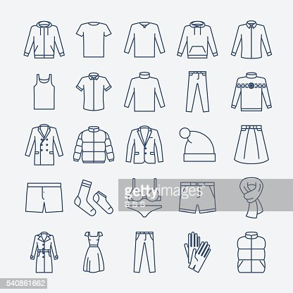 Clothes linear icons : stock vector