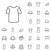 clothes outline, thin, flat, digital icon set for web and mobile