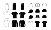 Collection of clothes templates: icons, silhouette, glyph and outline style. Jerkin, common t-shirt, long sleeve t-shirt for men. Rap cap with a flat bill and a t-shirt for women. Vector eps10 illustr