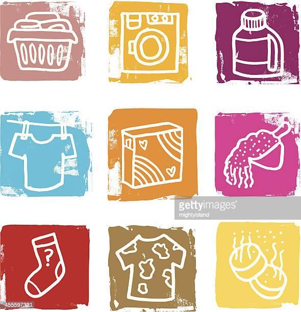 Clothes washing icon blocks
