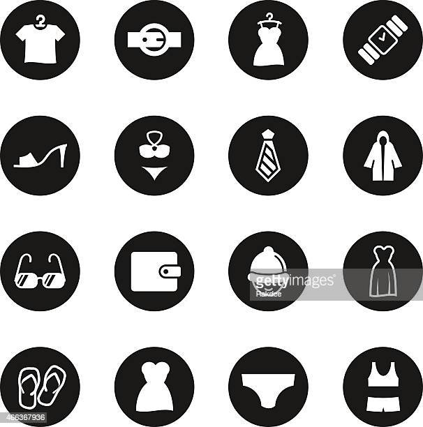 Clothing And Accessories Icons Black Circle Series Vector Fitness Symbol Zum Kopieren