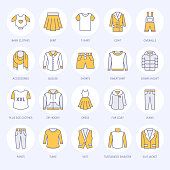 Clothing, fasion flat line icons. Mens, womens apparel - dress, down jacket, jeans, underwear, sweatshirt, fur coat. Colored thin linear signs for clothes and accessories store.