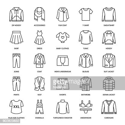 Clothing, fasion flat line icons. Mens, womens apparel - dress, suit jacket, jeans, underwear, sweatshirt, fur coat. Thin linear signs for clothes and accessories store : stock vector