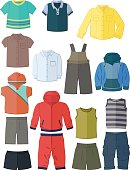 Clothing for little boys in flat design isolated on white background