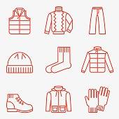 Set of 9 winter clothing icons. Flat design