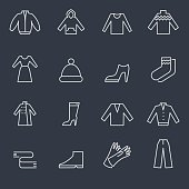 Set of 16 winter clothing icons. Flat design. Thin lines
