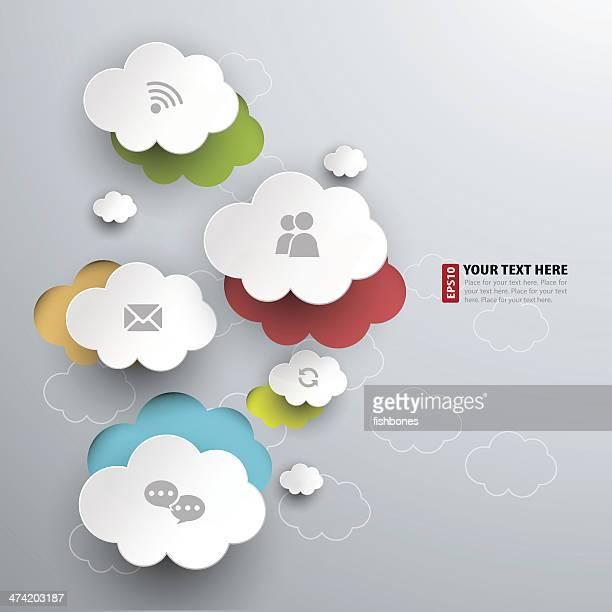 Il Cloud computing concetto icone