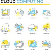 Cloud computing concept icons, thin line, flat design