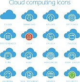 Cloud computing classic silhouette icons set. Vector. Download, upload, settings, new document, preferences, lock, unlock and folder