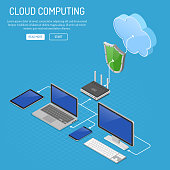 Cloud Computing Technology Isometric Concept with Computer, Laptop, Smartphone, Tablet, Router and Shield Icons. Security cloud storage server. Vector illustration