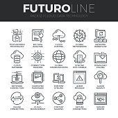 Modern thin line icons set of cloud data technology services, global connection. Premium quality outline symbol collection. Simple mono linear pictogram pack. Stroke vector symbol concept for web grap