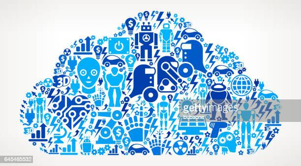 Cloud Icon Robot and Robotics Automation Vector Pattern