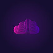 Cloud icon in trendy colors on ultra violet background. Line art style. Cloud data symbol. UI element design. Vector illustration, EPS10.