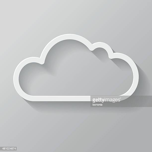 Cloud Papier dünne Linie-Icon mit langen Schatten Interface