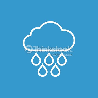 Cloud Rain Outline Icon Isolated White On The Blue Background Vector Art