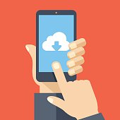 Cloud storage app on smartphone screen. User touch screen. Vector illustration