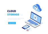 Cloud storage concept with pc, laptop, smarphone. Can use for web banner, infographics, hero images.  Line style Isometric vector illustration.