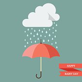 Cloud with Rain drop on umbrella. Flat style vector illustration