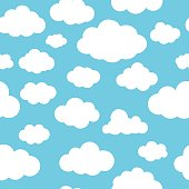 Clouds blue pattern. Nubes on sky, cartoon skyline clouds seamless background for baby and child bright dreams vector illustration