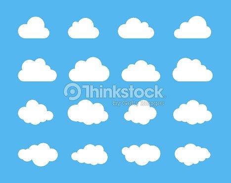 Siluetas de nubes. Vector conjunto de formas de las nubes. Colección de varias formas y contornos. Elementos para la previsión del tiempo de diseño, interfaz o nube almacenamiento aplicaciones web : arte vectorial