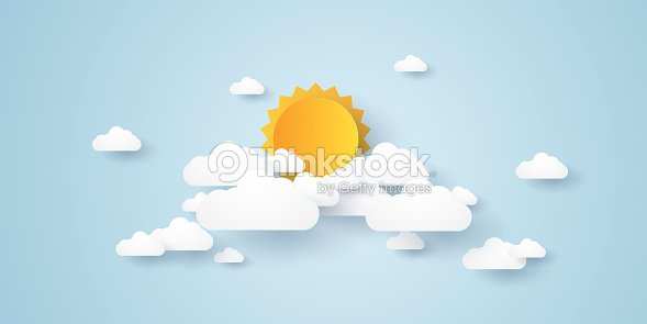 Cloudscape , blue sky with clouds and sun , paper art style : stock vector