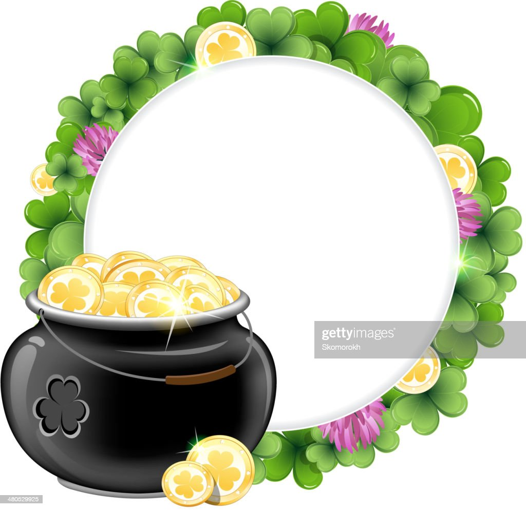 Clover wreath and  pot with gold : Vector Art