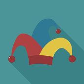 Clown jester hat flat long shadow design icon. Vector eps10 illustration.  917030934  iStock  Icono del diseño de payaso bufón sombrero ... 84d260abb3b