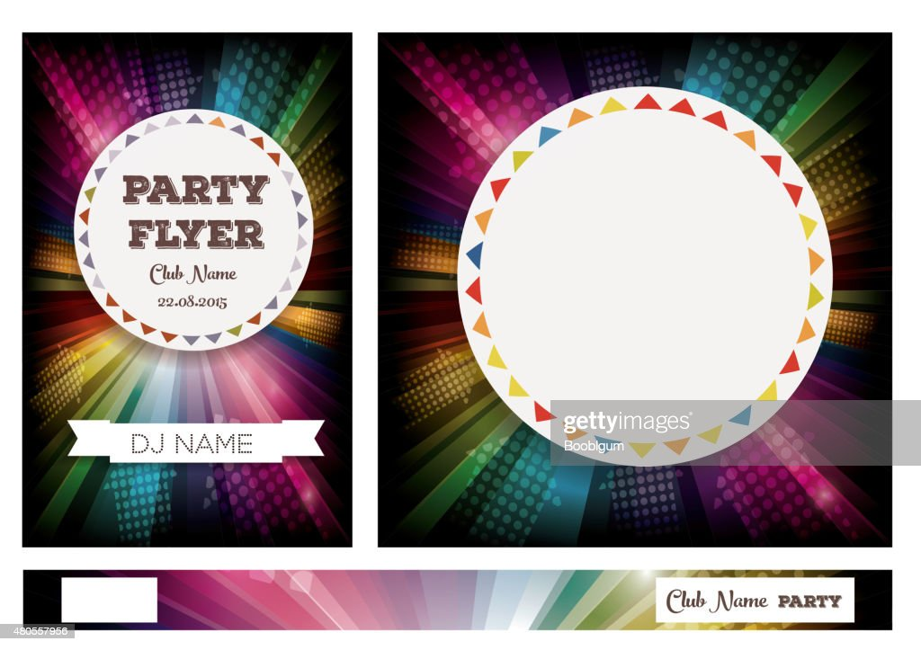 Club Flyers with copy space and rainbow background : Vector Art