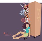 Overfilled closet bursting with different things, woman trying to hold the doors closed, EPS 8 vector illustration, no transparencies, copy space provided