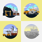 Coal mining set. Vector flat illustration.