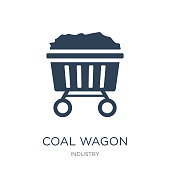 coal wagon icon vector on white background, coal wagon trendy filled icons from Industry collection