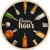 Coaster with bottle and glass with beer, whiskey, tequila, cognac, champagne, rum. Vintage vector engraving illustration. Advertising design for pub on dark background