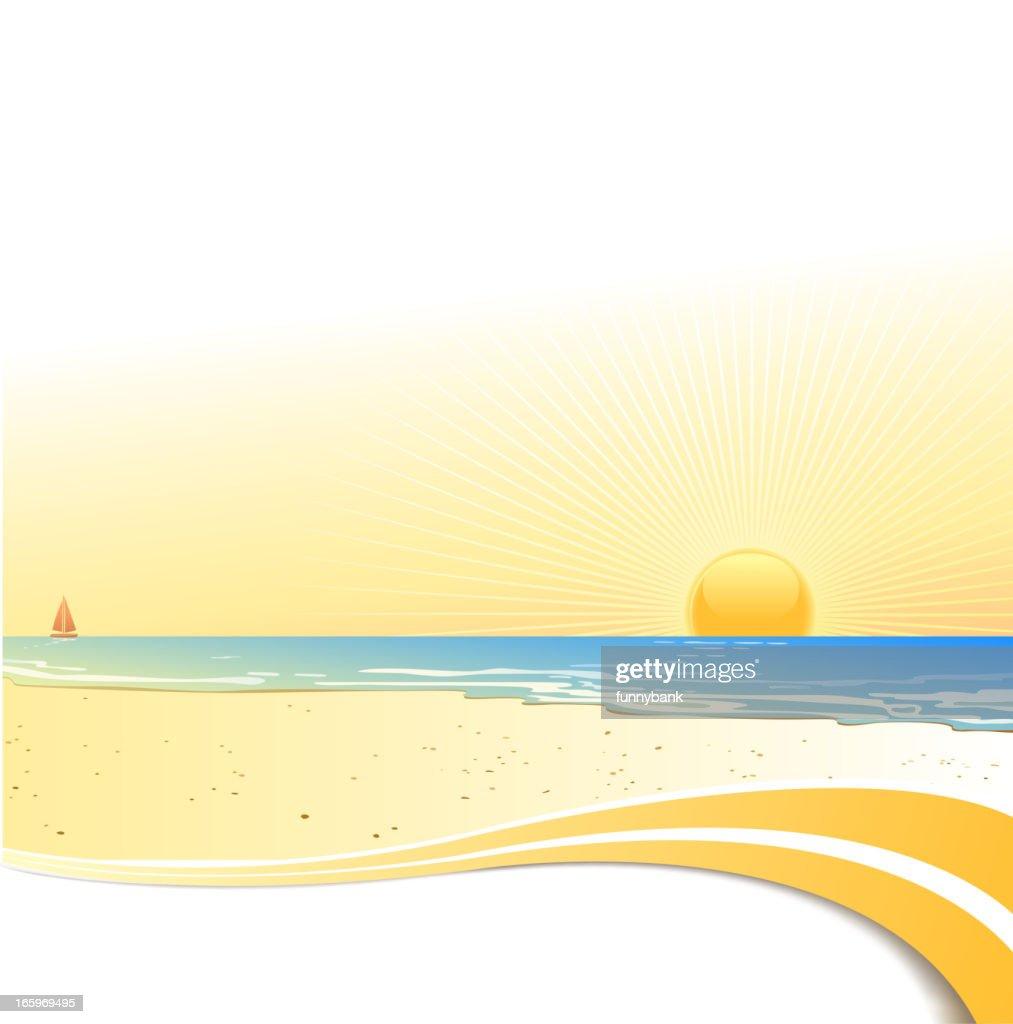 coastline in sunset : Vector Art