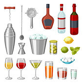 Cocktail bar set. Essential tools, glassware, mixers and garnishes