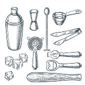 Cocktail bar tools and equipment vector sketch illustration. Hand drawn icons and design elements for bartender work.