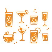 Set of cocktail glasses icons in retro style, isolated vector illustration. Bar or restaurant drinks collection.