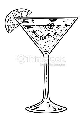Cocktail illustration dessin gravure encre dessin au trait vecteur clipart vectoriel thinkstock - Dessin cocktail ...
