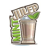 Vector illustration of alcohol Cocktail Mint Julep: garnish of green leaves in old silver cup, kentucky derby cocktail with heap of crushed ice, icon with title - mint julep, mocktail drink on white.